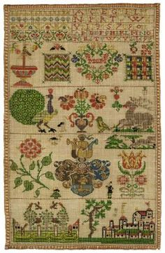 Sampler German ~ dated 1692 Southern Germany Medieval Embroidery, Embroidery Sampler, Vintage Embroidery, Vintage Crochet, Cross Stitch Embroidery, Mosaic Flower Pots, Vintage Cross Stitches, Cross Stitch Samplers, Antique Quilts