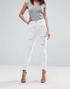 ASOS RIDLEY Skinny Jeans In White with Shredded Rips with Let-Down Hem