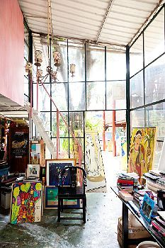 Studio of Sao Paulo artist Isabelle Tuchband. Light, lovely, colour-filled.