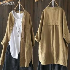 2019 ZANZEA Spring Top Women Cotton Blouse Cardigans Button Down Shirt Vintage Female Long Sleeve Patchwork Casual Work Blusas Mode Abaya, Mode Hijab, Blouse Vintage, Vintage Shirts, Vintage Linen, Vintage Style, Vintage Outfits, Cardigans For Women, Blouses For Women