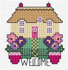 Ponto cruz Tiny Cross Stitch, Cross Stitch House, Cross Stitch Heart, Cross Stitch Cards, Simple Cross Stitch, Cross Stitch Borders, Cross Stitch Designs, Cross Stitching, Cross Stitch Embroidery
