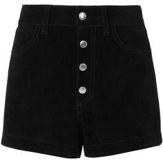 Rag & Bone Women's Lou Black Suede Shorts (€465) ❤ liked on Polyvore featuring shorts, black, highwaist shorts, high-waisted shorts, high-rise shorts, high waisted shorts and suede shorts