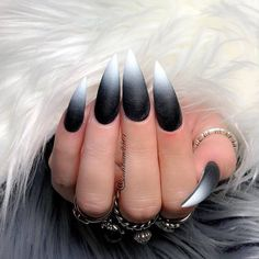 Stiletto nails are one of the shapes that many girls like. Long and pointed nails are suitable for anyone with bold ideas. Long black Stiletto nails are bold and stylish. It's a stylish look, very chic, suitable for everyone. Black And White Nail Designs, Black White Nails, Black Stiletto Nails, Black Acrylic Nails, Black Nail Art, Best Acrylic Nails, Black Ombre Nails, Stiletto Nail Designs, Long Black Nails