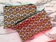 """NEW Vintage Foral Fabric and Oilcloth Makeup Cosmetic Zipper Pouch Clutch Wet Bag 3.5"""" x 5.25"""""""