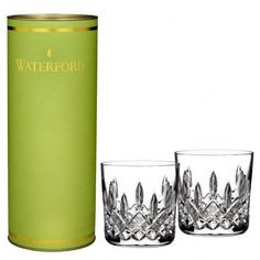 Waterford Giftology Lismore 9oz Tumbler Pair New In Gift Canister #Waterford
