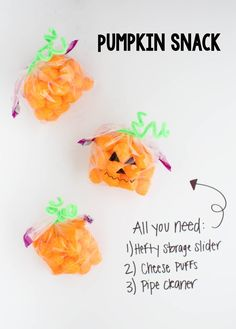 Make these ADORABLE pumpkin snack bags with your favorite orange snack and Hefty Slider Bags. These would be perfect for a school treat!