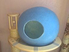 "Cat cave, house, bed, nap, cocoon Handmade from natural sheep woo, ""Blue ball"", Дом для кота или собаки ручной работы из шерсти Голубой шар"