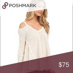 Free People moonshine v neck pullover, M Great thermal sweater with shoulder cut outs and v neck in beige. Frayed hem is part of design. Is a m but it big and could fit a large as well, though the arms are slightly narrow. Has been worn- Tiny stain shown in third pic, I am sure it could come off but haven't tried. Price is negotiable! Free People Sweaters
