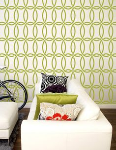 Love to do this on my family room wall, but in blue... LoVe the pillows too!