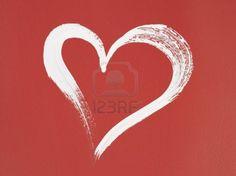 White heart brush stroke