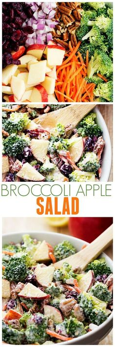This Broccoli Apple Salad will be one of the best salads that you make!! So many amazing flavors and textures and the creamy dressing on top is TO DIE for!