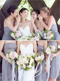 gray bridesmaid dresses http://www.weddingchicks.com/2013/11/18/new-england-wedding/