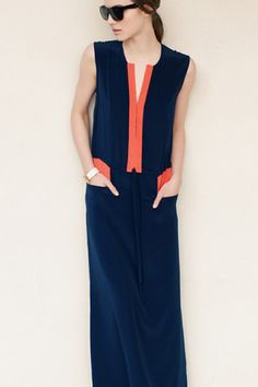 Keyhole Dress - Navy-Orange | Emerson Fry