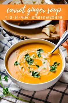 Carrot Ginger Soup (Instant Pot or Stove Top) Carrot Ginger Soup: This carrot ginger soup makes for an easy, healthy and heartwarming winter dish! It's creamy with a subtle spicy kick of ginger, gluten free, dairy free, sugar free and perfect for those on Healthy Soup Recipes, Real Food Recipes, Vegetarian Recipes, Cooking Recipes, Paleo Soup, Vegan Vegetarian, Carrot Soup Easy, Carrot Ginger Soup Vegan, Creamy Carrot Soup
