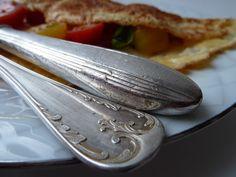 Homemade omelet with fleamarket flatware