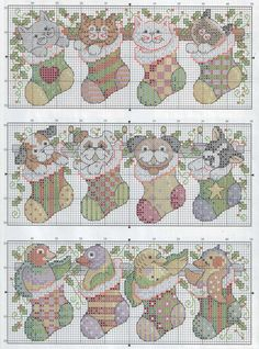 Cross Stitch *<3*  Pets in stockings 4