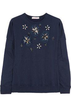 Matthew Williamson Embellished cotton-jersey sweatshirt  | NET-A-PORTER