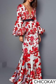 0228426d7e5e Floral Printed Split Joint Sexy Maxi Dress- Chicokay  chicokay  maxidress  dresses  Abito