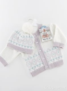 Our White Fair Isle Cardigan and Pom Pom Hat features a pretty purple and blue coordinating fair isle print on the hat and the cardigan. The hat is topped with an adorable pom pom to make baby girl even cuter! Baby Aspen, Babys 1st Christmas, Pom Pom Hat, Baby Shower Themes, Future Baby, Baby Hats, Pretty Little, Knitted Hats, Flower Girl Dresses