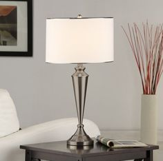 SET OF 2 BRUSH NICKEL METAL & FABRIC SHADE TABLE LAMPS  - Click image twice for more info - See a larger selection of table lamp sets at http://tablelampgallery.com/product-category/table-lamp-sets/ - home, home decor, table lamps, gift ideas, home ideas, lightning .