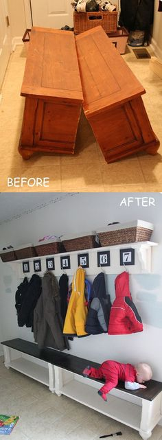 An old coffee table turned into an entry way / mud room bench! I love this concept and the hooks above for the coats.