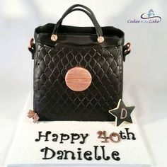MIMCO HANDBAG CAKE  Yes this is indeed a cake! In fact its a chocolate mud cake covered with black fondant and decorated for a lucky young lady's 40th Birthday  www.cakesbythelake.com.au