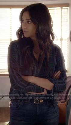 Emily's dark plaid blouse on Pretty Little Liars.  Outfit Details: https://wornontv.net/59344/ #PLL