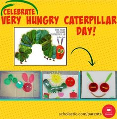 Try this fun caterpillar craft to celebrate Very Hungry Caterpillar Day (or any day!) with your child.