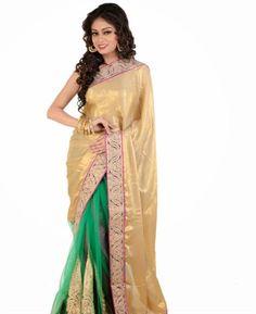 Buy Classy Gold Color & Green Chiffon Saree [ADF35113] at $94.88