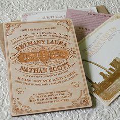 Vintage Wood Engraved Typography Wedding Invitation, beyonddesign etsy shop, $85 design fee plus $9.40/invitation including postcard, insert, outer envelope