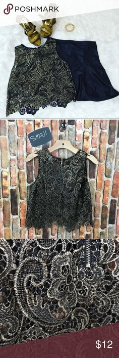 Sans Souci Paisley Lace Crop Top            Size S Beautiful Stylish metallic gold and black paisley crop top. Beautiful unfinished embroidered hem. Completely sheer Would be perfect with a black or gold bralette Tops Crop Tops