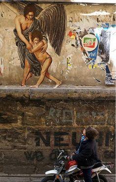 """""""Mi arte se inspira en que la gente de la vida cotidiana pueda apreciar un estilo clásico del arte sin un boleto de museo""""- Žilda, arte urbano renacentista  //  """"My art is inspired by the people of the daily life can appreciate a classic style of the art without a ticket museum""""- Žilda, urban art renaissance."""