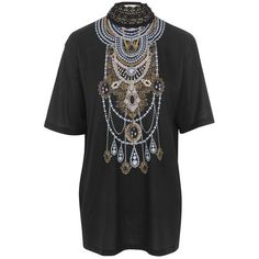 Crochet Necklace T-Shirt by Jaded London ($61) ❤ liked on Polyvore featuring tops, t-shirts, crochet patterns tops, macrame top, macrame t shirt, crochet tee and print top