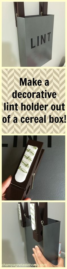 Spruce up your laundry room with this DIY lint holder box made from a cereal box! What a great idea for a cheap laundry room redo! (Diy Bathroom Closet)