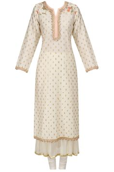 Off white bootis embroidered kurta with crushed inner available only at Pernia's Pop Up Shop.