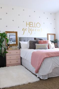 Teen Room Makeover ideas - www.classyclutter.net | Love the combo of grey and blush pink with the metallic gold! Those pink nightstands are so cute! Love the polka dotted wall!