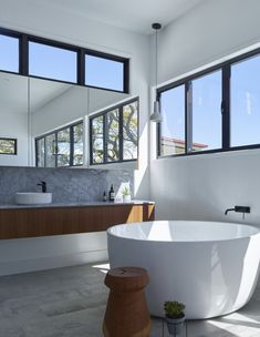 The Water Tower House, 75 Tooth Avenue, Paddington Brisbane Architecture, Architecture Design, South Facing House, Timber Vanity, High Windows, Tower House, Water Tower, Beautiful Bathrooms, Bathroom Inspiration