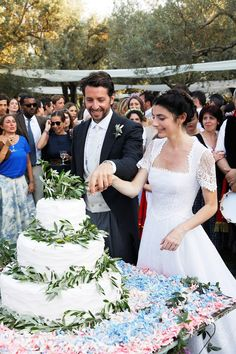 Me and Filippo. Olive branches and petals surrounded the wedding cake.