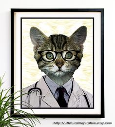 40 OFF CYBER SALE Doctor Cat print kids Art by uNaturalInspiration, $7.99