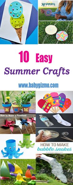 Here's ten great, easy summer crafts – bubble snakes are our favorite! #Summer #BabyGizmo