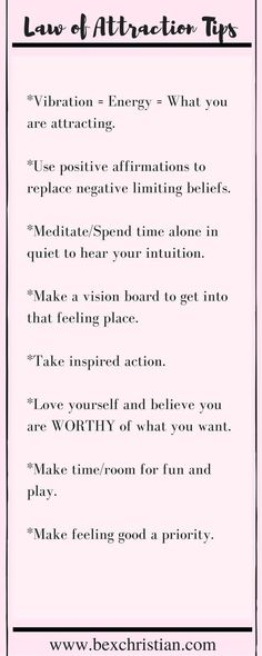 Some basic tips for using the law of attraction and practicing self love. Click through for more or pin to save for later! http://www.bexchristian.com http://www.loahome.com/why-is-attitude-important/ http://www.loahome.com/you-make-your-destiny/