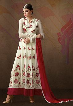 Off White floral embroidered ankle length Pakistani anarkali dress H16246