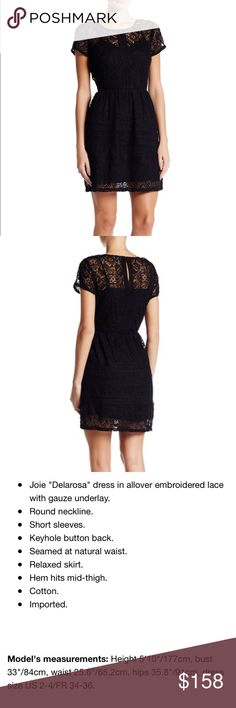 Joie Delarosa Lace Embroidered Black Dress LBD 4 NWT New with tags Joie Delarosa Lace Embroidered Black Dress Allover Embroidered lace with gauze underlay Round neckline Short sleeves Keyhole Button back Seamed at natural waist  Originally $458 Size 4  Check out my closet for bundles! Joie Dresses Mini