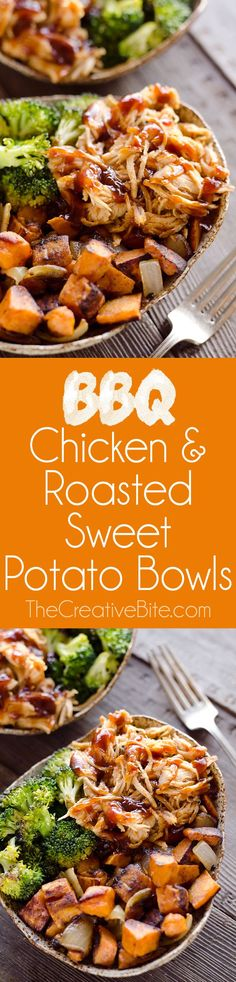BBQ Chicken & Roasted Sweet Potato Bowls are a hearty and healthy dinner idea bursting with bold flavors and nutritious vegetables. This easy sheet pan recipe is perfect for meal prepping lunches for work or a quick weeknight meal. #SheetPan #OnePan #Bowl #DinnerIdea
