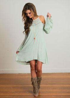 Long Sleeve Dress, Short Dress, Mint, Lace, Tie Back, Open Back Open Shoulder, Bell Sleeves,Open Boutique