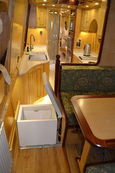 Narrowboat Kitchen, Narrowboat Interiors, Interior Work, Best Interior, Interior Design, Canal Boat Interior, Caravan Conversion, Tiny Living, Living Rooms