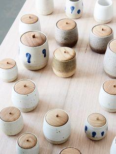 wood lid ceramic jar