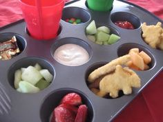 Muffin tin lunch ideas  This is a really cute idea for kids. Heck it wouldn't be idea for a picnic.