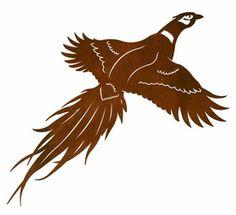 "30"" Flying Pheasant Bird Metal Wall Art"