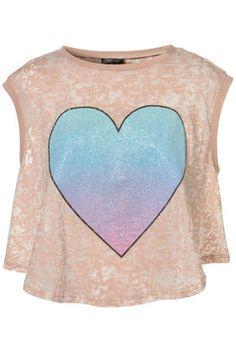 Coloured Ombre Heart Tank Top